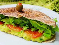 Sanduíche de Pão Sírio com Guacamole (vegana)
