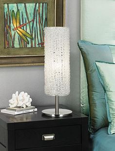 Aqua tones in a contemporary bedroom design.  Love all of this!