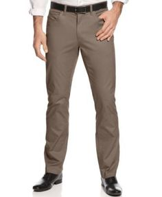 Alfani Slim-fit Cotton Stretch Pants, Created for Macy's - Tan/Beige 34x32