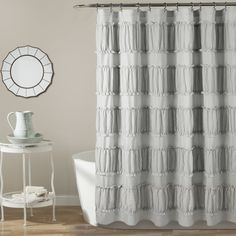 Nova Ruffle Shower Curtain Gray - Lush Decor ruffles and ruching detail give this shower curtain an incredible textured look. This curtain set is ideal for your master or guest bathroom. It works well in shabby chic, minimalist, t Elegant Shower Curtains, Ruffle Shower Curtains, Shower Curtain Rods, Grey Curtains, Boutique, Lush, Farmhouse Shower Curtain, Vintage Bathroom Decor, Nova