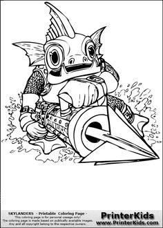 skylanders gill gunt coloring page