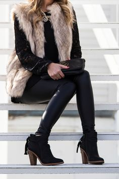 Wearable NYE Look featuring Faux Fur, Leather & Lace