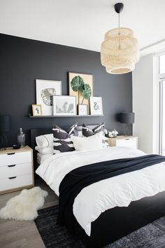 See how a dramatic black wall can instantly transform a basic condo bedroom. See how a dramatic black wall can instantly transform a basic condo bedroom. Condo Bedroom, Master Bedroom Interior, Home Decor Bedroom, White Bedroom Decor, Budget Bedroom, Decor Room, White Bedroom Black Furniture, Mens Room Decor, Condo Living Room