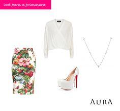 """#SapatoBranco é um """"must have"""" das próximas estações. Saia #floral e #colar com #crucifixo completam um look arrasador! (Cod. 5211) #temqueter #AuraPrata #joias  #prata #tendencias"""