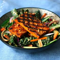 Spicy Peanut-Ginger Kale Salad with Spicy Grilled Tofu