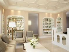 This is the waiting are for a salon but it would be great for a bridal boutique. Just change the product shelving into accessory displays.