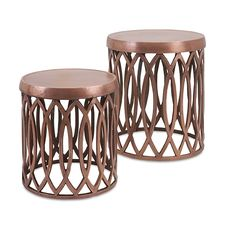 Copper Finish Aluminum Accent Tables: Crafted from 100% aluminum in an open and airy pattern and finished with a matte copper look.