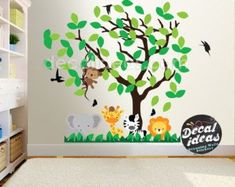Tree Wall decal Nursery Large Tree Wall decals animal wall decals Animals Nursery Wall Decals, Wall Art Sticker