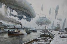 As incríveis pinturas de um universo steampunk de Vadim Voitekhovitch