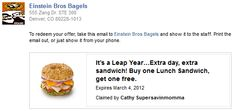 FACEBOOK COUPON $$ BOGO FREE Lunch Sandwich at Einstein Bros Bagels!