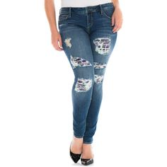 SLINK JEANS Floral Patch Distressed Skinny Jeans (Plus Size) ($50) ❤ liked on Polyvore featuring plus size women's fashion, plus size clothing, plus size jeans, lilly, plus size, super skinny jeans, plus size skinny jeans, destroyed skinny jeans, blue skinny jeans and ripped skinny jeans