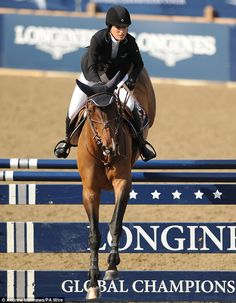 Jessica Springsteen on Murka Vindicat W, a horse bought for her after it won gold with British rider Peter Charles in the 2012 Olympics.