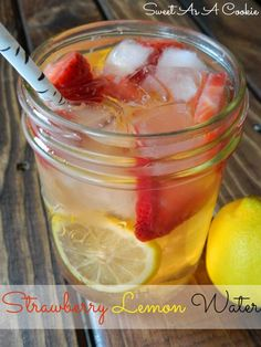 Strawberry Lemon Water | A lot of people hate water, but we need it to survive. By adding in delicious fruits it will make your water much m...
