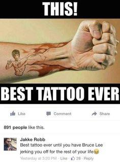 Greatest Bruce Lee Tattoo Ever Fist Tattoo, Get A Tattoo, Demon Tattoo, Tattoo Ink, Funny Tattoos, Cool Tattoos, Tatoos, Amazing Tattoos, Arm Tattoos
