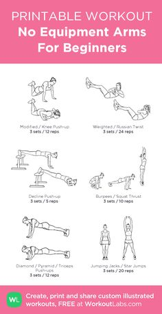 No Equipment Arms For Beginners: my visual workout created at WorkoutLabs.com • Click through to customize and download as a FREE PDF! #customworkout
