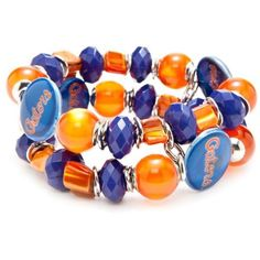 Accessory Plays  Silver-Tone Florida Gators Two Row Beaded Bracelet (320 ARS) ❤ liked on Polyvore featuring jewelry, bracelets, blue orange, silver tone jewelry, beading jewelry, orange bangles, party jewelry and beads jewellery