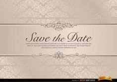 Vector Wedding Invitation Template with Floral Riband