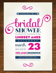 Whimsical Bridal Shower Invitation Customizable by DesigningFinch, $15.00