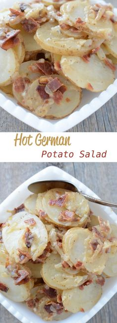 Hot German Potato Salad - The Best French Recipes Potato Dishes, Potato Recipes, Food Dishes, Side Dishes, Chicken Recipes, Side Recipes, Great Recipes, Favorite Recipes, Recipes Dinner