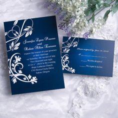 Printable elegant classic damask blue wedding invitation EWI004