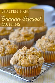 Gluten Free Banana Muffins with Brown Sugar Shortbread Streusel - An easy banana muffin to add to your gluten free baking repertoire, or to bake as a standard muffin but rely on to make as gluten free option when needed.