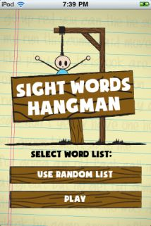 Sight Words Hangman  {99¢ iTunes app}