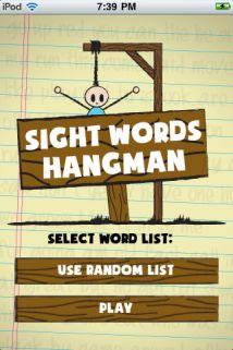 Sight Words Hangman  {99¢ iTunes app}