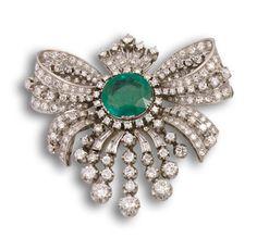 Broche años 30, esmeralda y diamantes