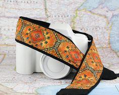 Gold Tribal dSLR Camera Strap Southwestern Camera Neck by ten8e