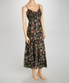 Look what I found on #zulily! Black Floral Sleeveless Dress by Lazy Daisy #zulilyfinds
