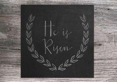 He is Risen Square Easter Chalkboard Art Printable Digital Download