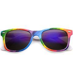 eab812598b Dakota pride rainbow mirrored lens sunglasses (€34) ❤ liked on Polyvore  featuring accessories