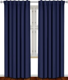 Blackout Room Darkening Curtains Window Panel Drapes - (Navy Blue Color) 2 Panel Set - 52 inch wide by 84 inch long - By Utopia Bedding