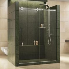 DreamLine Enigma 36 in. x 79 in. Frameless Corner Sliding Shower Enclosure in Brushed Stainless - The Home Depot DreamLine Enigma 36 in. x 79 in. Fully Frameless Sliding Shower Enclosure in Frameless Sliding Shower Doors, Frameless Shower Enclosures, Glass Shower Doors, Shower Tub, Sliding Doors, Bathtub Doors, Shower Stalls, Shower Base, Glass Doors