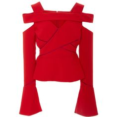 Bibhu Mohapatra Cross Band Long Sleeve Crepe Top (£1,160) ❤ liked on Polyvore featuring tops, red, long sleeve cutout top, cut-out shoulder tops, long sleeve tops, red long sleeve top and red top