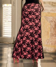 Black & Pink Floral Lace Maxi Skirt by AM PM $49.99