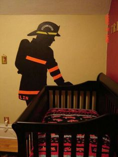 I would add angel wings to the fireman so its like my dad watching over my son Firefighter Bedroom, Firefighter Home Decor, Firefighter Baby, Firefighter Crafts, Baby Boy Rooms, Baby Boy Nurseries, Baby Room, Fireman Nursery, Fireman Room