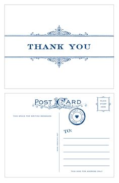 "These thank you postcards are printed with a vintage border and a navy print. The back of the postcards include a vintage inspired design. These postcards are 5 1/4"" X 4 1/4"" and come 10 in a pack. Le"