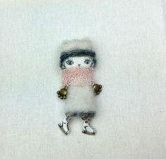 kitty in white wool coat doll brooch