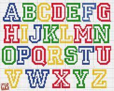 Children's alphabet graphic for cross stitch All Star Crochet Alphabet, Embroidery Alphabet, Plastic Canvas Letters, Plastic Canvas Crafts, Cross Stitch Letters, Cross Stitch Heart, Cross Stitching, Cross Stitch Embroidery, Cross Stitch Designs