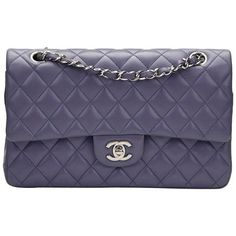 Preowned 2011 Chanel Lavender Quilted Lambskin Medium Classic Double... (130,585 THB) ❤ liked on Polyvore featuring bags, handbags, purple, structured shoulder bags, purple handbags, shoulder bag purse, purple purse, quilted shoulder bags and shoulder hand bags