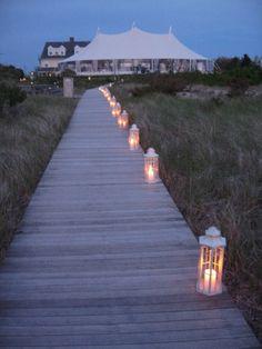 Lanterns with LED tea lights for beach walkway at reception? Dock Wedding, Beach Wedding Reception, Nautical Wedding, Summer Wedding, Dream Wedding, Beach Weddings, Hamptons Wedding, Nantucket Wedding, The Hamptons