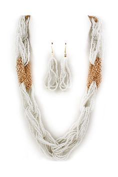 Rose Gold Chain + White Seed Bead Necklace