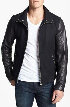 7 Diamonds 'Pagani' Wool Jacket with Leather Sleeves available at #Nordstrom
