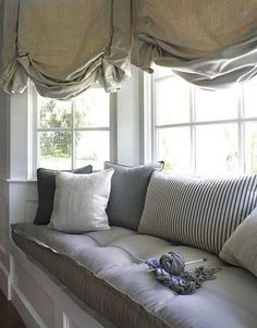 Love this window seat.reading in the rain. It is my dream to have a window seat in my bedroom one day Window Seat Cushions, Bay Window Curtains, Window Benches, Bench Cushions, Tufted Bench, Burlap Curtains, Bay Window Seats, Bay Window Decor, Balloon Curtains