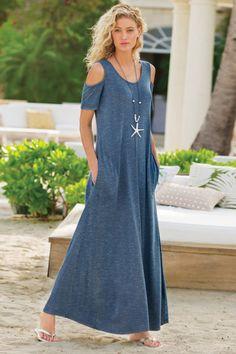 Soft Surroundings Dresses - Plus-size Electra Maxi Dress Over 50 Womens Fashion, Dress Patterns, Casual Dresses, Maxi Dresses, Work Dresses, Chiffon Dresses, Party Dresses, Cold Shoulder Dress, Soft Surroundings