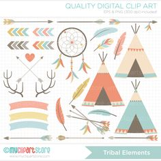 Tribal / American Indian / Hipster Clip Art / Digital Clipart - Instant Download by MyClipArtStore on Etsy
