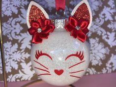 Excited to share this item from my shop: Red and white cat glitter ornament Glitter Ornaments, Christmas Ornaments To Make, Christmas Crafts For Adults, Christmas Tables, Handmade Christmas Decorations, Angel Ornaments, Felt Christmas, Glitter Wallpaper Iphone, Glitter Force