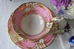 Royal Stafford: elegant set Cup and saucer pink and gold