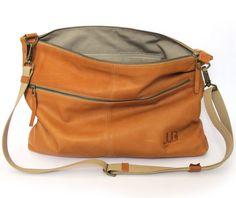 Soft camel leather messenger bag shoulder bag cross by JUDtlv